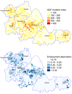 Map of employment deprivation and accidental dwelling fires in the West Midlands